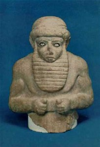 Sumerian bust of a Bearded Man circa 3500-3200 BC