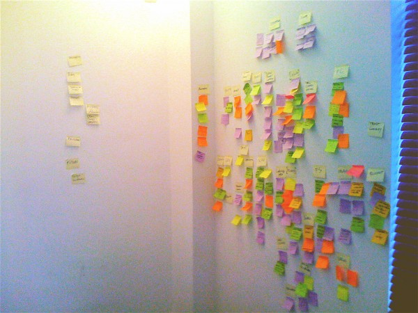 The stickies on the wall after an intense day of presentations and discussions