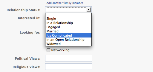 it complicated facebook relationship status